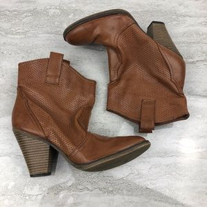 Mia Brown Western Style Ankle Boot
